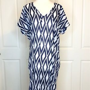 J Crew Maxi Dress Small Blue Beach Cover up Caftan